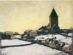 Old Aker Church by Edvard Munch  Size: 16x21 cm Medium: oil on board