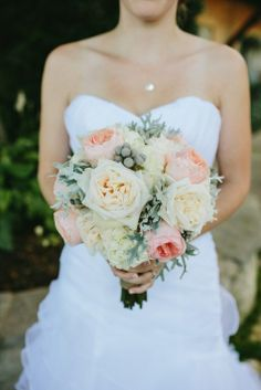 Peach, cream, and green bridal bouquet // Kate Miller Photography