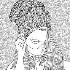 Descargar - Chica con un sombrero de punto — Ilustración de stock #103798436