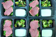Keto lunch boxes with silverside, broccoli, spinach and sour cream