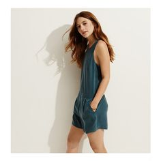 LOFT Lou & Grey Silkwash Romper (800 ZAR) ❤ liked on Polyvore featuring jumpsuits, rompers, turquoise bliss, grey romper, sleeveless rompers, gray romper, sleeveless romper and playsuit romper
