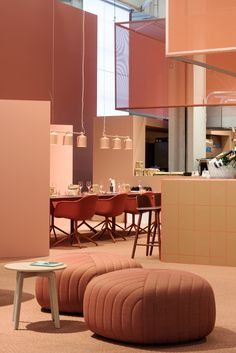 Sulla Bocca Di Tutti Italian For On Everybodys Lips Was Chosen To Complement Its Italian Menu And To Illustrate How The Design Bar Often Ends Up Being The Center Of The Fair, Where People Meet With Clients And Catch Up With Friends And Colleagues. Design Set, Note Design Studio, Bar Design, 2017 Design, Design Color, Color Terracota, Muuto, Orange Interior, Modern Interior