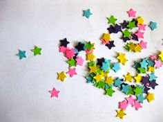 Mini Star Confetti Star Punch Outs - Set of 100 - Rainbow, 20 each of Green, Yellow, Purple, Turquoise, and Hot Pink