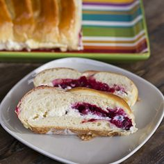 Cranberies and cream cheese bread. Any type of berry could be used.  Oh the possibilities..  Yum..