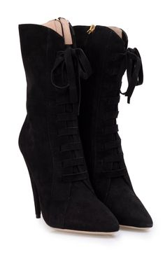 MIU MIU - Lace-up suede ankle boots