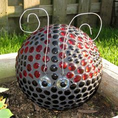 Lady Bug - Bowling Ball, glue on gem stones and grout!  So fun!