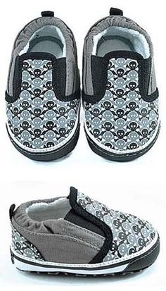 Punk Rock N Roll Baby Shoes Skull Slip Ons - Jaminga