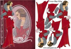 Lady in Red Velvet Gown Fashion Reflections Decoupage