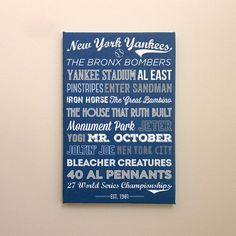 New York Yankees - Canvas or Poster - etsy gift man cave baseball yankees print graphic design typography Graphic Design Print, Graphic Design Typography, Monument Park, New York Yankees Baseball, Yankee Stadium, Mlb Teams, Equipment For Sale, Detroit Red Wings, T Shirts With Sayings