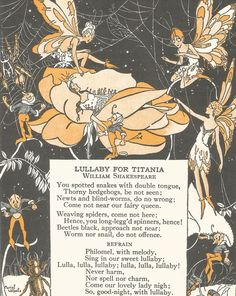 Vintage children's storybook art illustration lullaby fairy fairies elves…
