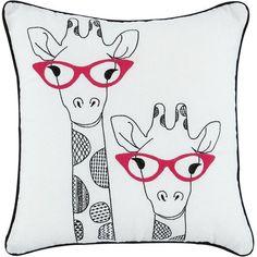 Giraffes Applique Cushion (£12) ❤ liked on Polyvore featuring home, home decor, throw pillows, giraffe throw pillow, funky throw pillows, giraffe home decor, embroidered throw pillows and funky home decor