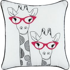 Giraffes Applique Cushion ($9.99) ❤ liked on Polyvore featuring home, home decor, throw pillows, pillows, set of 2 throw pillows, giraffe throw pillow, red home decor, giraffe home decor and embroidered throw pillows