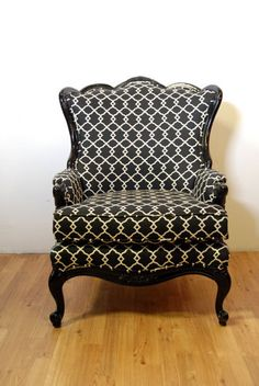 Hello beautiful...  I'm in the wrong business. i need to learn how to re-upholster!  - LR  Oversized Black Pattern Armchair on Etsy, $1,539.00