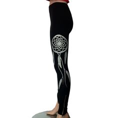These leggings were designed by Tammy Beauvais (Mohawk Nation) and features a Native American dreamcatcher design on the sides of each leg. The leg...