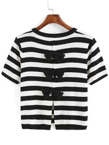 Back Bow Striped T-shirt
