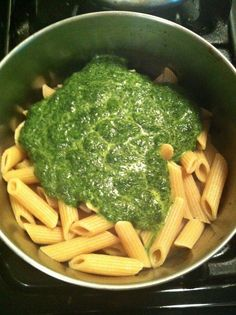 clean-eating: whole wheat penne with   healthy spinach pesto:  I didn't add egg but I did add a little garlic salt.    Kids ate it up.