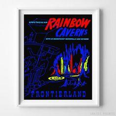 Vintage Disneyland Rainbow Caverns Print. Prices from $9.95. Available at InkistPrints.com - #disneyland#kidsroom#disney#babyroom#nursery#RainbowCaverns