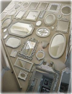 Nice Not So Shabby – Shabby Chic: Mirror wall is almost complete…. The post Not So Shabby – Shabby Chic: Mirror wall is almost complete…. Shabby Chic Spiegel, Baños Shabby Chic, Shabby Chic Mirror, Shabby Chic Homes, Shabby Chic Furniture, Shabby Chic Photo Frames, Shabby Chic Lighting, Shabby Chic Dining Room, Shabby Chic Wall Decor