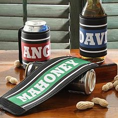 Personalized can & bottle wraps - these are awesome! Great Father's Day gift idea, too!