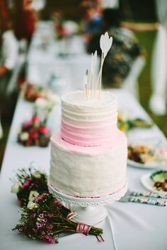 wedding cake and cake toppers