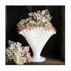 Vintage Milk Glass Fan Vase by Fenton by ShiftingYears on Etsy