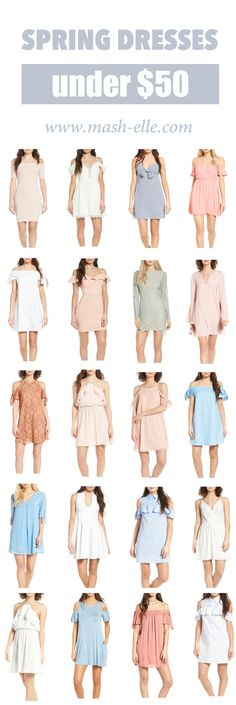 I need one of each!! | Fashion blogger Mash Elle shares over 50 affordable spring dresses. Casual dresses, after dresses, off the shoulder dresses, lace dresses, party dresses, special occasion dresses, bodycon dresses, tunic dresses, shift dresses, midi dresses, mini dresses and peplum dresses. Lots of ruffles and ties = love.