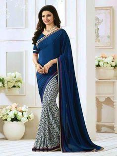 Beautiful Prachi Desai Blue And Grey Georgette Saree