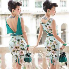 FRETE GRÁTIS Le Palais Vindima 2016 Verão Nova Chegada Elegante Light Blue Big Flores Mais Vestindo Backless Vestido Lápis Fino