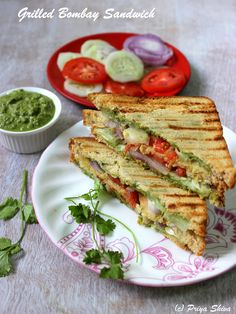 Grilled Bombay Sandwich Recipe Grilled Bombay Sandwich – enjoy delicious made with chutney, veggies and wheat bread for ! Grilled Sandwich Recipe, Soup And Sandwich, Sandwich Recipes, Sandwich Ideas, Corn Sandwich, Veg Recipes, Indian Food Recipes, Vegetarian Recipes, Cooking Recipes