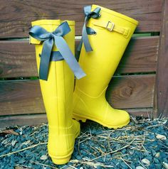 Yellow Rain Boots with Custom Gray Bow $72
