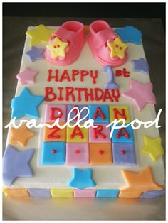 A buttercream cake with fondant baby theme deco.For orders or enquiries,please email us at mail@myvanillapod.com