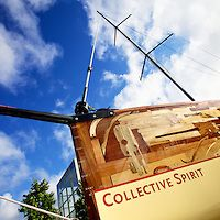 """The Lone Twin Boat Project """"Collective Spirit"""" craned into and installed into Queens Court, Central Milton Keynes Shopping Centre in UK on 19th July 2012 as part of IF Milton Keynes International Festival 2012."""
