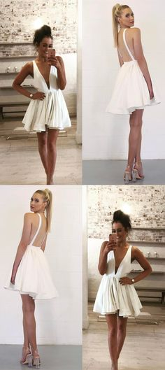 short white homecoming dresses,sexy backless prom dress,fashion deep v neck party gowns,simple satin homecoming dress