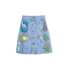 Sequin Dinosaur Denim Skirt by Kuccia (45.920 CLP) ❤ liked on Polyvore featuring skirts, bottoms, blue, blue sequin skirt, sequin skirt, button front skirt, button front denim skirt and blue skirt