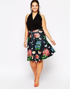 Club L Plus Size A Line Skirt in Butterfly Floral Print