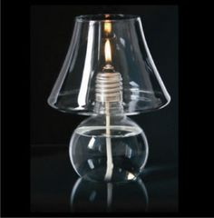 Lampe Bougie à huile en forme de lampe de table en verre transparent Lux by Opossum Design décoration d'intérieur luminaire ampoule détournée en bougie