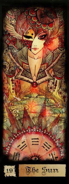 Beautiful Tarot art for the Sun Card.