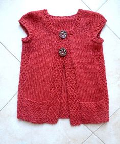 """diy_crafts- """"Ravelry: Project Gallery for 106 Girls Cap Sleeve Cardigan Vest pattern by Diane Soucy"""", """"cardigan united colors of benetton - Baby Knitting Patterns, Crochet Baby Dress Pattern, Knit Vest Pattern, Baby Dress Patterns, Knitting For Kids, Knitting Designs, Skirt Patterns, Coat Patterns, Blouse Patterns"""