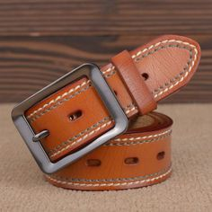 100% Cowhide Genuine Leather Belts for men brand Strap male pin buckle fancy vintage jeans cinto freeshipping