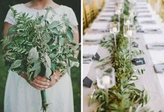 22 of the Hottest Wedding Trends for 2015 via Brit + Co. NO FLOWER WEDDINGS: Think gorgeous bouquets, stylish succulents, green garlands, leafy wreaths and runners. #weddingflowertrends