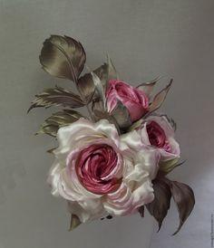 Купить Брошь Pink rose (школа Tanjobana) - розовый, шикарная брошь, брошь цветок