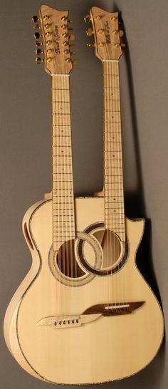 "Daniel Ott, (Daniel's Guitars) ""Belle de Jour"" Custom Double Neck --- https://www.pinterest.com/lardyfatboy/"