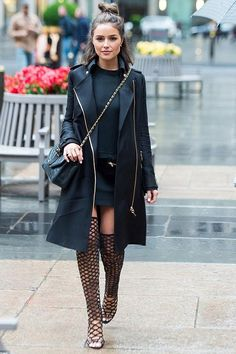 Olivia Culpo wearing Chanel Vintage Classic Quilted Lambskin Single Flap Bag and Schutz Karlyanna Sandals