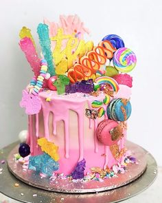 Getting Creative Amazing Cool and Beautiful Birthday Cakes Ideas 26 Candy Birthday Cakes, Homemade Birthday Cakes, Candy Cakes, Birthday Cake Girls, Cupcake Cakes, Trolls Birthday Party Ideas Cake, Sweetie Birthday Cake, Candy Theme Cake, 3 Year Old Birthday Cake