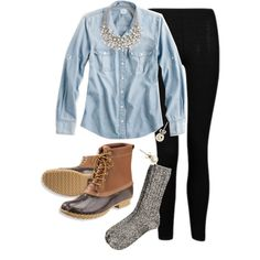 Chambray and Bean Boots