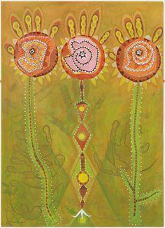 """JORDI TRAPERHO """"Tres Flors-Mans-Ulls de Cosmològiques"""" Acrílicos, papel. 2009 50x70cm"""