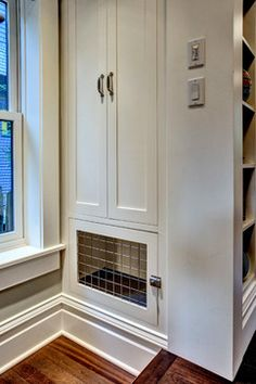 Dog crate and pantry craftsman kitchen