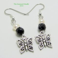 Black Onyx and Potato Pearl with Butterfly Charm Earring | TheGemmedGiraffe - Jewelry on ArtFire