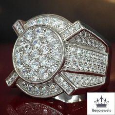 MENS 14K WHITE GOLD DIAMOND PINKY RINGS ENGAGEMENT WEDDING BAND 3.00 CARAT #beijojewels #WeddingBand