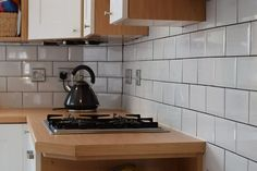Installing white metro tiles with dark grout in our kitchen Metro Tiles, Tiling, Stove, Terrace, Diy Projects, Kitchen Appliances, Period, Interior Design, House